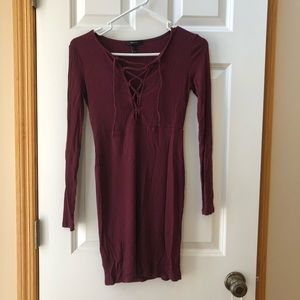 Dresses & Skirts - Knit maroon lace up long sleeve dress